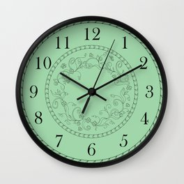 green floral clock Wall Clock