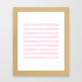 Pink handpainted stripes on clear white Framed Art Print