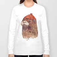 otter Long Sleeve T-shirts featuring River Otter by Animal Crew