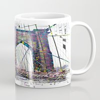 brooklyn bridge Mugs featuring brooklyn bridge by Vector Art