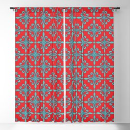 Fleur de Lis - Red & Turquoise Blackout Curtain