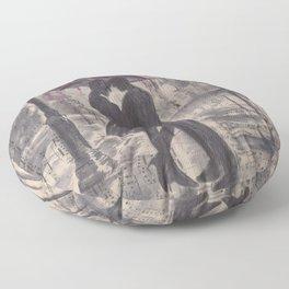 Silouette lovers on rainy street Floor Pillow