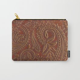 Rusty Tooled Leather Carry-All Pouch