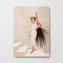 Minimal Woman with a Palm Leaf Metal Print