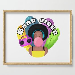 Afro girl with headphones and chewing gum listening music Serving Tray