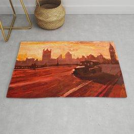 London Taxi Big Ben Sunset with Parliament Rug