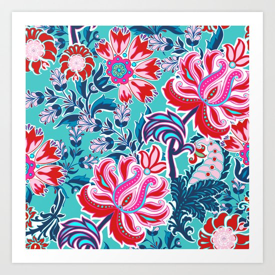 Bohemian Floral Paisley in Turquoise, Red and Pink Art Print