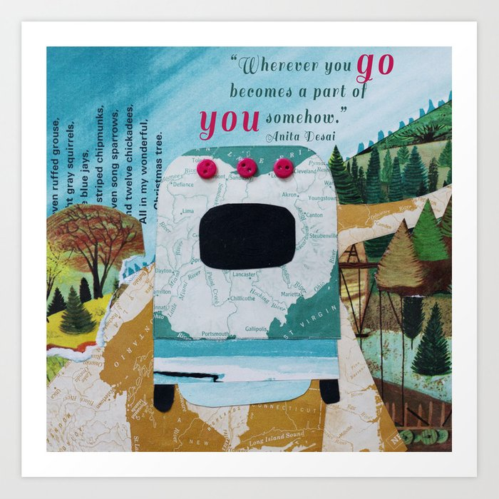 Wherever You Go: Silver Camper Art Print by charmgirl