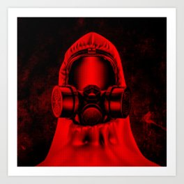 Toxic environment RED / Halftone hazmat dude Art Print