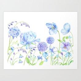 Watercolor Blue Garden Illustration Art Print
