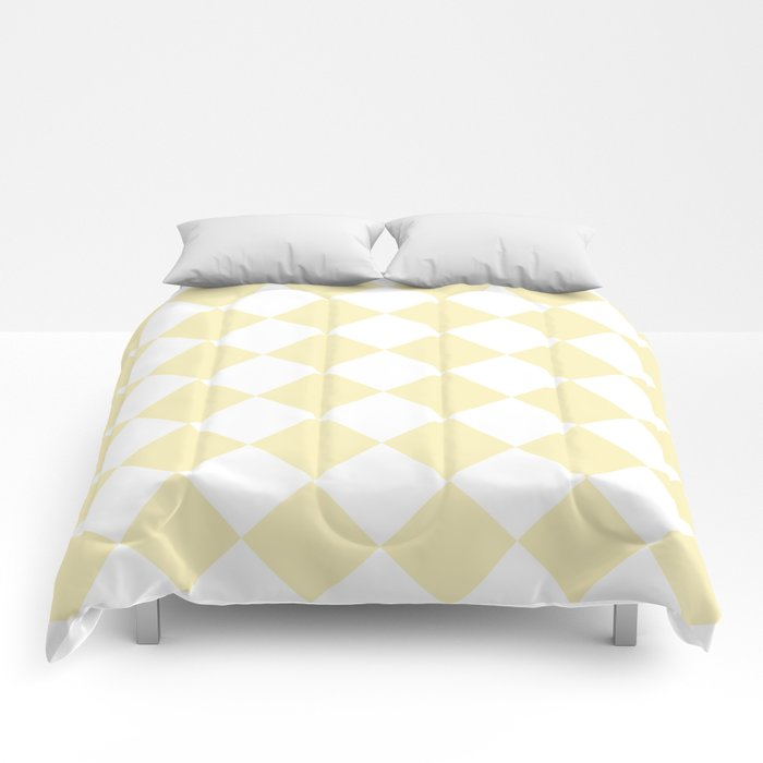 Large Diamonds - White and Blond Yellow Comforters