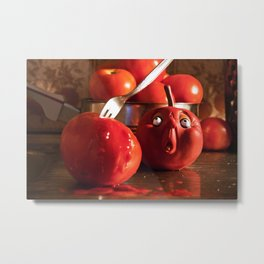 Tomato food funny kitchen crime murder scene Metal Print