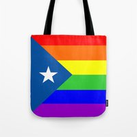 puerto rico Tote Bags featuring puerto rico gay people homosexual flag rainbow by tony tudor