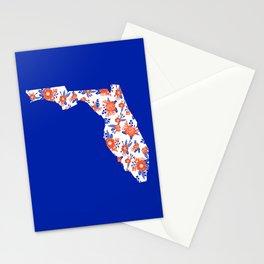 Florida fan gators university orange and blue team spirit football college sports floral Stationery Cards