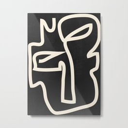Abstract line art / Face Metal Print