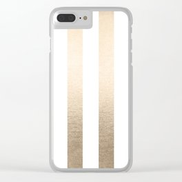 Simply Vertical Stripes in White Gold Sands Clear iPhone Case