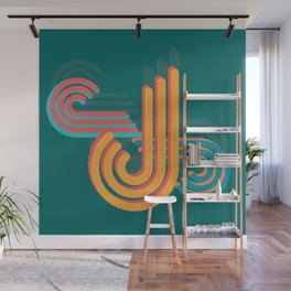 Abstract Shapes Yellow Blue and Red Wall Mural