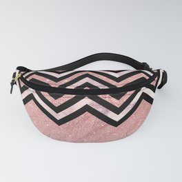 Modern black rose pink glitter lavender marble chevron Fanny Pack