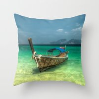 thailand Throw Pillows featuring Thailand Longboat by Adrian Evans