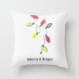 Merry & Bright Christmas lights Throw Pillow