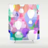 hot air balloons Shower Curtains featuring Hot air balloons by Ingrid Castile