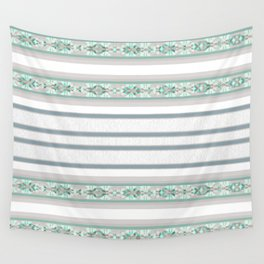 Decorative Teal Grey Stripe Pattern Wall Tapestry