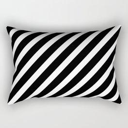 Black and White Diagonal Stripes Rectangular Pillow