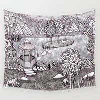 vermont Wall Tapestries featuring Zentangle Vermont Mountain Pond by Vermont Greetings
