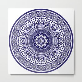 Mandala 006 Midnight Blue on White Background Metal Print