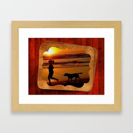 Sunset Glow at the Beach Framed Art Print