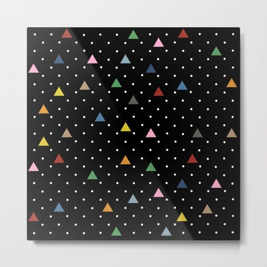 Pin Point Triangles Black Metal Print