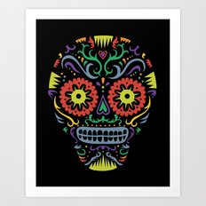 Sugar Skull SF multi -  black Art Print