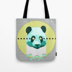 the blue panda who was melting black and white Tote Bag