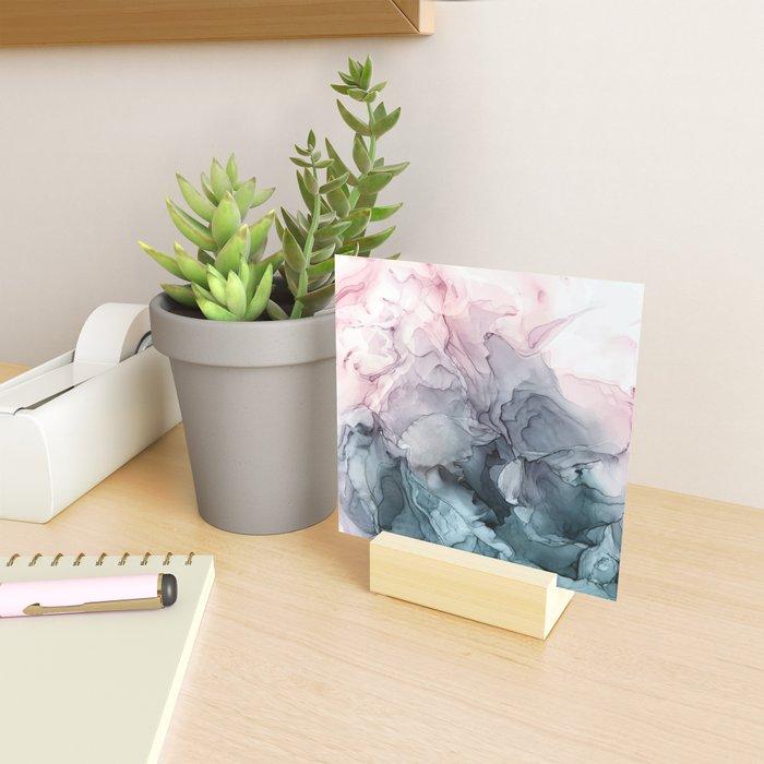 Blush and Paynes Gray Flowing Abstract Reflect Mini Art Print