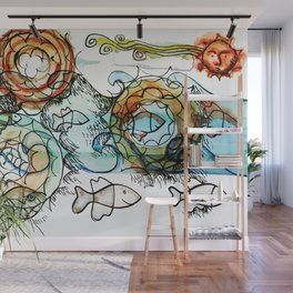 Life on the Earth  - The Ocean - Lighter version Wall Mural