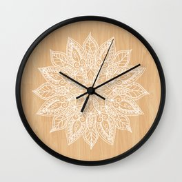 Leaf mandala - wood Wall Clock