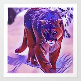 Mountain Lion Hunting in The Snow Art Print