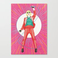 karen hallion Canvas Prints featuring Karen O by felixdrewthis
