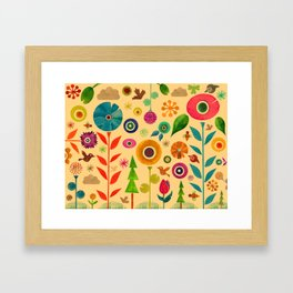 Flowers and Bees Framed Art Print