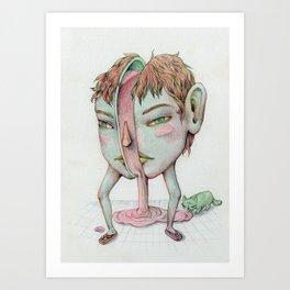 Bubble-gum Cat feeder Art Print