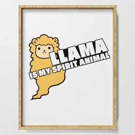 Llama Is My Spirit Animal Ruminant Mammal Alpaca Guanaco Camel Like Animal Wildlife Nature Gift Serving Tray