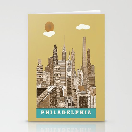 Philadelphia skyline vintage Stationery Cards