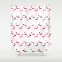 flamingo Shower Curtains featuring Flamingo by Vickn