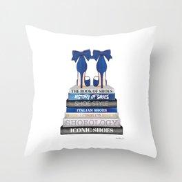 Navy, Books, Fashion books, Fashion, Fashion art, fashion poster, fashion wall art, Shoes Throw Pillow