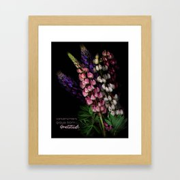Contentment Grows from Gratitude Framed Art Print