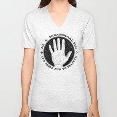 Me & Paranormal You - James Roper Design - Palmistry B&W (black lettering) Unisex V-Neck