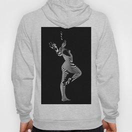 0443s-MM Black and White Zebra Striped Art Nude Figure on Black Hoody