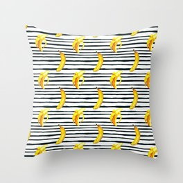 Hand painted yellow black watercolor bananas stripes pattern Throw Pillow