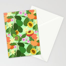 Avocado + Peach Stone Fruit Floral in Mint Green Stationery Cards