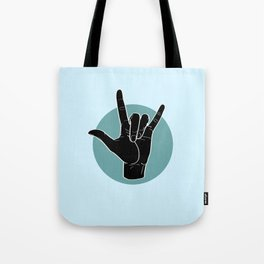 ILY - I Love You - Sign Language - Black on Green Blue 03 Tote Bag